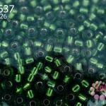 ลูกปัด Miyuki 15/0 สีเขียวสอดไส้ รหัส 26
