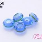 ลูกปัดแก้วมูราโน่ ทรงจานบิน สีน้ำเงินใส ลายขอบเขียว 14x6 มิล(1ชิ้น)