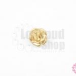 กระดุมโลหะ ดอกกุหลาบ สีทอง 13มิล(1ชิ้น)