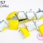 เป็กติดเสื้อ ทรงสี่เหลี่ยม สีเหลือง 12 มิล(10ชิ้น)