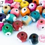 ลูกปัดไม้ กลมดวงตา คละสี 10มิล (330เม็ด) 1 ขีด