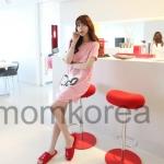 MK425 เดรสเปิดให้นมแฟชั่นเกาหลี โทนสีชมพู ด้านหน้าสกรีนรูปน้องแมว มีซิปซ่อนอย่างดีเปิดให้นมน้องได้สะดวก
