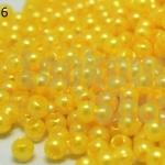 ลูกปัดมุก พลาสติก สีเหลือง 3มิล 1 ขีด (8,150ชิ้น)