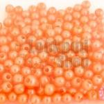 ลูกปัดมุก พลาสติก สีส้มพีช 4มิล (1ขีด/3,553ชิ้น)