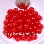 ลูกปัดมุก พลาสติก สีแดงสด 6 มิล 1 ขีด