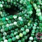 หินอาเกตดวงตา สีเขียว 6 มิล ยาว 35 ซม. (จีน)