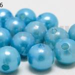 ลูกปัดมุก พลาสติก สีฟ้าเข้ม 10มิล 1 ขีด (206ชิ้น)