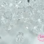 คริสตัลพลาสติก ทรงไบโคน สีขาว 8 มิล