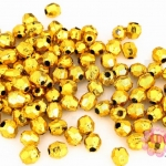 ลูกปัดพลาสติกเคลือบสีทอง กลมเจียรเหลี่ยม 5X5มิล (1ขีด/1,420ชิ้น)