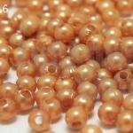 ลูกปัดมุก พลาสติก สีน้ำตาลอ่อน 4มิล 1 ขีด (3,553ชิ้น)