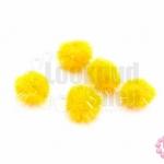 ปอมกำมะยี่ สีส้ม มีดิ้น 0.6ซม.(100ชิ้น)