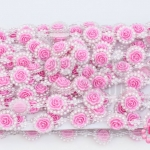 เพชรแถวแต่ง ดอกกุหลาบ สีชมพู 22มิล (1หลา/90ซม)