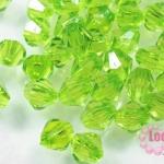 คริสตัลพลาสติก ทรงไบโคน สีเขียว 8 มิล