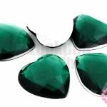 เพชรแต่ง หัวใจ สีเขียวเข้ม ไม่มีรู 25มิล(10ชิ้น)