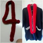 พู่ตกแต่งคอเสื้อ สีแดง แต่งพู่กลมตรงปลาย
