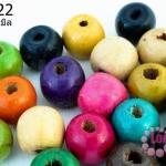 ลูกปัดไม้ กลม คละสี 12มิล (230เม็ด) 1 ขีด