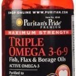 PuritanTriple Omega 3-6-9 /120 Softgels บำรุงสมอง เพิ่มความจำ ช่วยการไหลเวียนของเลือด ป้องกันการเกิดโรคหัวใจ หัวใจพิบัติ และความดันสูง โดยการลดการแข็งตัวของเลือด