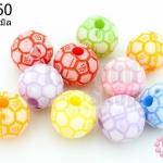 ลูกปัดพลาสติก คละสี ลูกบอล 11มิล(1ขีด/140เม็ด)