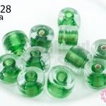 ลูกปัดแก้ว ทรงกระบอก สีเขียวสอดไส้ (ใส) 10มิล(1ขีด/70ชิ้น)