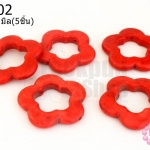 หินแฟนซี ดอกไม้ สีแดง 34มิล(5ชิ้น)