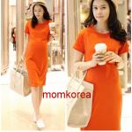 K754 ชุดคลุมท้องแฟชั่นเกาหลี โทนส้ม เดรสยาว เนื้อผ้า Cotton 100% นิ่มมากๆ สามารถใส่หลังคลอดได้ค่ะ