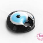 ลูกปัดลูกตา ทรงแบน สีดำ ขนาด กว้าง 30 มิล x 32 มิล รู 5 มิล ราคาอันละ 120 บาท
