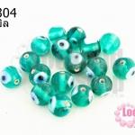 ลูกปัดแก้ว ลูกตา สีเขียวอมฟ้า 10 มิล (1ขีด/98ชิ้น)
