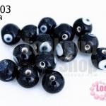 ลูกปัดแก้ว ลูกตา สีดำ 10มิล(1ขีด/98ชิ้น)