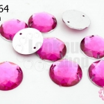 เพชรแต่ง กลม สีชมพูออกม่วง มีรู 16มิล(10ชิ้น)
