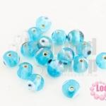 ลูกปัดแก้ว ลูกตา สีฟ้า 10 มิล (1ขีด/98ชิ้น)