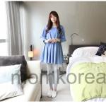 MS189 เสื้อคลุมท้องแฟชั่นเกาหลี โทนสีฟ้า เนื้อผ้านิ่มใส่สบายมากๆ ค่ะ ใส่คู่กับกางเกงเลกกิ้งดูน่ารักดีค่ะ