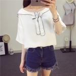 ้เสื้อยืดแฟชั่นเกาหลี แต่งปกเสื้อแบบคอซองผูกโบว์ด้านหน้า น่ารักๆ สีขาว