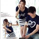 ชุดคู่รัก เสื้อคู่รักเกาหลี เสื้อผ้าแฟชั่น ชายเสื้อยืดสีน้ำเงินสกรีนรูปหัวใจ + หญิงเดรสกล้ามลายน้ำเงินขาว พร้อมเสื้อนอก สีน้ำเงิน สกรีนลาย Cute +พร้อมส่ง+