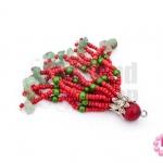 พู่ลูกปัดจีน สีแดง+หินปะการัง+หินแตกหยก ยาว 8 ซม. (1ชิ้น)