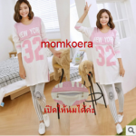 MK6013 เสื้อเปิดให้นม+กางเกงเลกกิ้งคนท้อง 2 in 1 เสื้อโทนสีชมพูขาว สกรีน NEW YORK ผ้าเนื้อนิ่มใส่สบาย