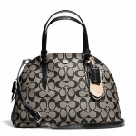 กระเป๋า COACH  PEYTON SIGNATURE CORA DOMED SATCHEL SILVER BLACK  F24606