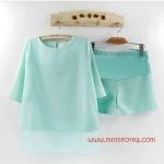 MM15001 ชุดคลุมท้อง เสื้อ+กางเกง มี 3 สี ให้เลือก เนื้อผ้าซีฟอง ใส่สบาย เนื้อผ้าดี งานดีค่ะ ใ