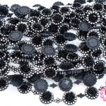 เพชรแถวแต่ง ดอกกุหลาบ สีดำ 22มิล (1หลา/90ซม)