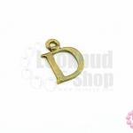 จี้ทองเหลือง ตัวอักษร D 11X14 มิล(1ชิ้น)