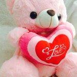"""ตุ๊กตาหมีบอกรัก ตุ๊กตาหมีกอดหัวใจปักคำว่า """"Love"""" ขนาด 40 เซนติเมตร สีชมพู"""