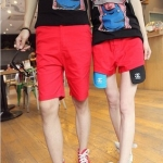 กางเกงคู่รัก ชาย + หญิงกางเกงขาสั้น แบบรูดซิบ ลายสีเรียบ สีแดง +พร้อมส่ง+