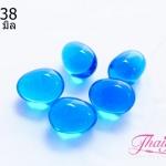 ลูกปัดแก้วมูราโน่ ไม่มีรู ทรงไข่ สีฟ้าใส 10x12 มิล(1ชิ้น)