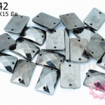 เพชรสอยสีรมดำ สี่เหลี่ยม2รู 14X15มิล (1ขีด/290ชิ้น)