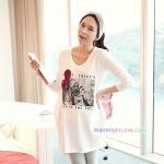 เสื้อคลุมท้องแขนยาว ลายผู้หญิงผูกโบว์แดง : สีขาว รหัส SH150