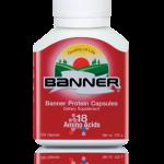 Banner protein แบนเนอร์โปรตีน เหมาะกับคนที่อ่อนเพลีย ทำงานหนัก รับประทานอาหารไม่ครบ 5 หมู่ ให้อะมิโนแอซิด รวม 18 ชนิด เหมาะสำหรับผู้ที่ต้องการดูแลสุขภาพร่างกาย 30 แคปซูล