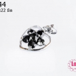 ตัวแต่งโรเดียม จี้ลูกปัด ตกแต่งสร้อยหินนำโชค รูปหัวใจล้อมเพชร สีดำ 13x22 มิล(1ชิ้น)