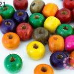 ลูกปัดไม้ กลม คละสี 10มิล (320เม็ด) 1 ขีด