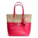 กระเป๋า COACH รุ่น TURNLOCK TOTE IN SIGNATURE FABRIC COACH 26476