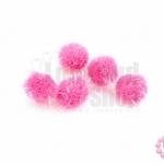 ปอมกำมะยี่ สีชมพู มีดิ้น 0.6ซม.(100ชิ้น)