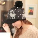 หมวกไหมพรมแฟชั่นเกาหลีพร้อมส่ง ทรงดีไซต์เก๋ หมวกสีดำ ทรงแก็ป ปักลายกวาง มีจุก